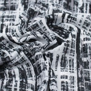 Silver Black Abstract Pattern Printed On 100% Poly Pointelle Fabric by the Yard