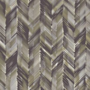 Brown Olive Abstract Pattern Printed on Double-Sided Brushed DTY Stretch Fabric