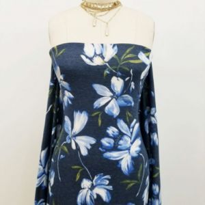 Denim Blue Large Floral Painterly Design Printed on Jersey Knit Fabric