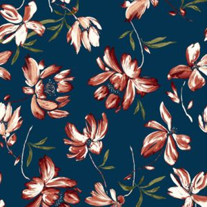 Indian Teal Rust Marsala Floral Painterly Printed Jersey Knit Fabric
