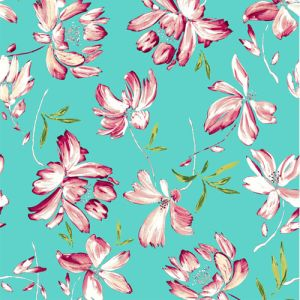 Turquoise Peach Floral Pattern Printed on Bubble Chiffon Fabric