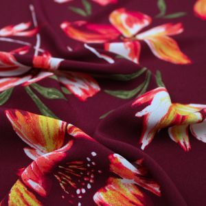 Burgundy Coral Painterly Floral Pattern Print Poly Moroccan by the Yard