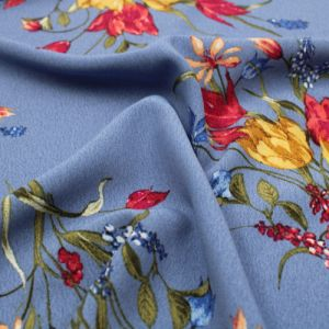 Denim Steel  with Yellow Floral Pattern Print Poly Moroccan by the Yard