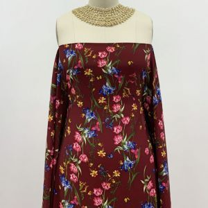 Burgundy with Lipstick Pink Floral Print Pattern on Poly Moroccan by the Yard