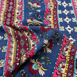 Navy Burgundy and Red Floral Jacobean Ethnic Print 55  Rayon Challis Fabric