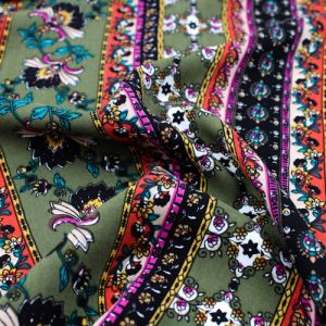 Olive Black and Rust Floral Jacobean Ethnic Design Printed 55  Rayon Challis Fabric