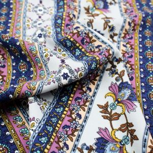 Silver Ink Purple and Gumdrop Floral Jacobean Ethnic Printed 55  Rayon Challis Fabric