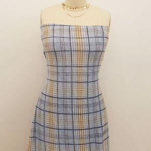 Blue with Navy and Taupe Checker Plaid Pattern Printed Waffle Brushed Poly Spandex Fabric