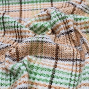 Caramel with Brown and Moss Checker Plaid Pattern Printed Waffle Brushed Poly Spandex Fabric
