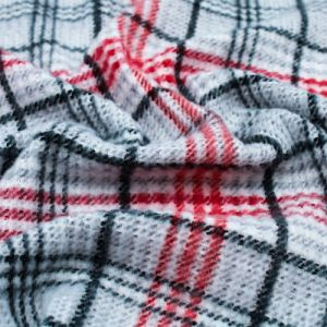 Silver with Black and Red Checker Plaid Pattern Printed Waffle Brushed Poly Spandex Fabric