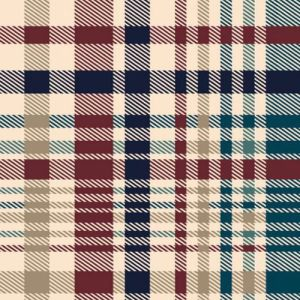 Navy Teal Carmine Checkered Printed on Hacci Melange Brushed Fabric