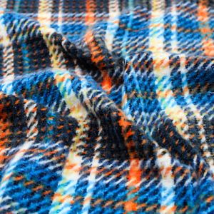 Navy Royal and Orange Checker Plaid Pattern Printed Waffle Brushed Poly Spandex Fabric