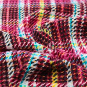 Wine Gold and Turquoise Checker Plaid Pattern Printed Waffle Brushed Poly Spandex Fabric