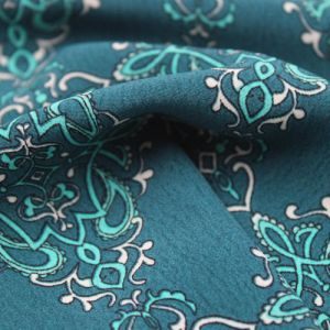 Teal with Turquoise Bohemian Mosaic Pattern Printed Poly Moroccan Fabric by the Yard