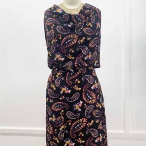 Black with Gold Violet Floral Paisley Design Printed Bubble Chiffon Fabric by the Yard