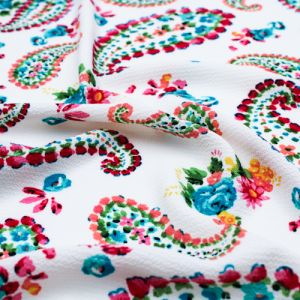 Off White with Turquoise Pink Floral Paisley Design Printed Bubble Chiffon Fabric by the Yard