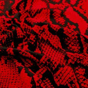 Red Black Snake Skin Pattern Printed Poly Moroccan Fabric by the Yard