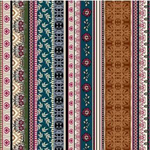Caramel Teal Ethnic Pattern Printed Poly Moroccan Fabric by the Yard