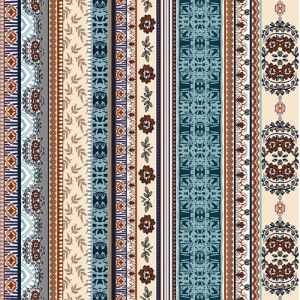 Hunter Green Ethnic Pattern Printed Poly Moroccan Fabric by the Yard