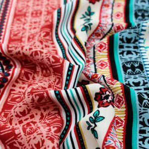 Red Clay and Turquoise Ethnic Pattern Printed Poly Moroccan Fabric by the Yard