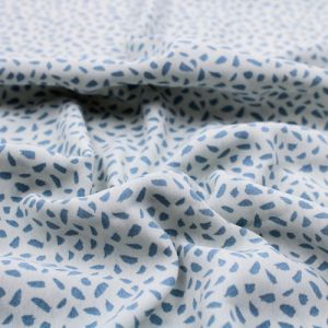 Ivory with Blue Abstract Design Printed Poly Moroccan Fabric by the Yard