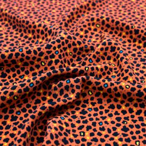 Burnt Orange with Black Cheetah Skin Pattern Printed Poly Moroccan Fabric by the Yard