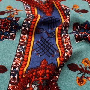 Teal Indigo Rust Tribal Design Printed Linen Look Light-Weight Poly Fabric by the Yard
