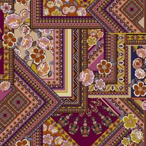 Burgundy Navy Rose pink Floral Patchwork Design on ITY Stretch Jersey Knit Fabric Twist Yarns ITY