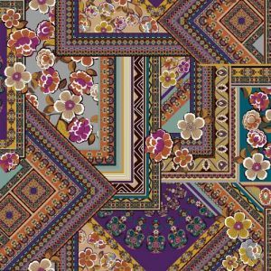 Purple Teal Persimmon Floral Patchwork Design on ITY Stretch Jersey Knit Fabric Twist Yarns ITY
