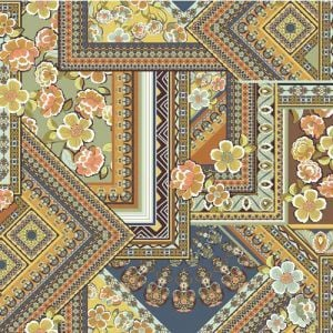 Midnight Blue and Brown Floral Patchwork Design Printed Poly Moroccan Fabric