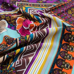 Purple Teal Floral Patchwork Design Printed Poly Moroccan Fabric by the Yard