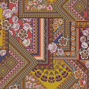 Wine Grape Blush Floral Patchwork Design Printed Poly Moroccan Fabric by the Yard
