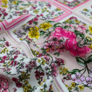 """Blush with Pink and Lilac Floral Patchwork Design Printed 55"""" Light-Weight Rayon Challis Fabric"""