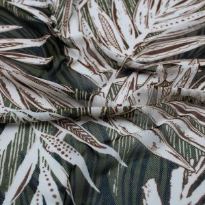 Olive Beige Tropical Leaf Pattern Printed Poly Power Mesh Fabric by the Yard