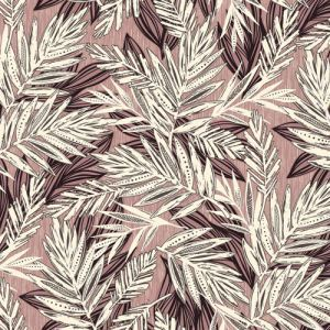Mellow Rose Ecru Tropical Leaf Pattern Printed on Rayon Crepon Fabric by the Yard