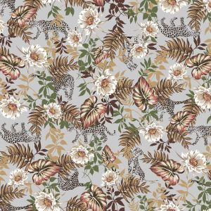 Silver Camel Brown Floral Pattern Printed on Scuba Crepe Knit Fabric