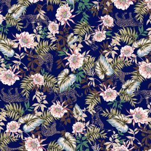 Dark Navy Blush Moss Floral Pattern Printed Scuba Crepe Knit Fabric