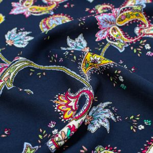 """Navy with Yellow Paisley Design Printed 55"""" Light-Weight Rayon Challis Fabric by the Yard"""