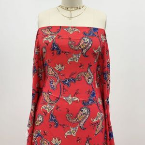 """Red With Royal Paisley Pattern Printed 55"""" Light-Weight Rayon Challis Fabric"""
