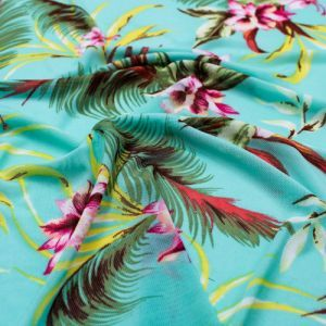 Mint Pink Aqua Floral Pattern Printed Stretch Poly Power Mesh Fabric by the Yard