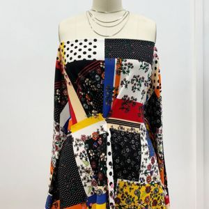 Black Royal Gold Patchwork Pattern Printed Scuba Crepe Techno Knit Fabric by the Yard