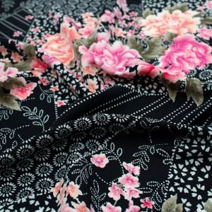 Black Dusty Rose Floral Asian Design Printed Poly Moroccan Fabric by the Yard
