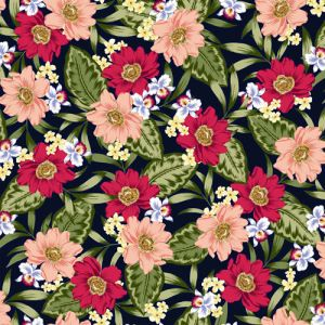 Navy Red Peach Floral Pattern on Hi-Multi Chiffon Washed Fabric by the Yard