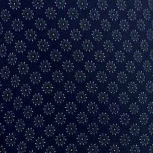 Navy Gold Ditsy Floral Pattern Printed on Wool Dobby Fabric