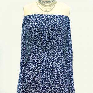 Navy Off White Conversational Pattern Printed 100% Poly Wool Dobby Fabric