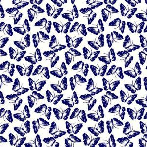 Off White Navy Conversational Pattern Printed 100% Poly Wool Dobby Fabric by the Yard