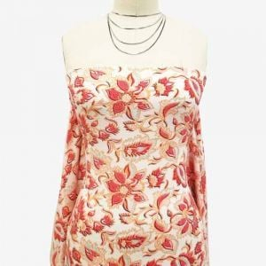 Off-white with Nectarine Color on Floral Design Bubble Chiffon Fabric by the Yard