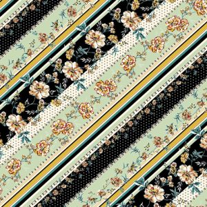 """Black Mint Golden Mustard Floral with Stripes Design Printed 55"""" Light-Weight Rayon Challis Fabric"""