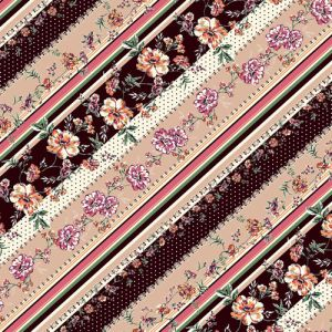 """Choco Blush and Pink Floral with Stripes Design Printed 55"""" Light-Weight Rayon Challis Fabric"""