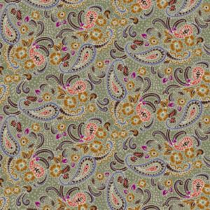 Army Green Caramel Paisley Pattern Printed on Double-Sided Brushed DTY Stretch Fabric